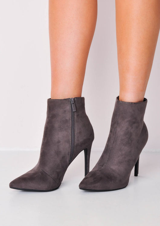 Stiletto Heel Pointed Suede Ankle Boot Charcoal Grey