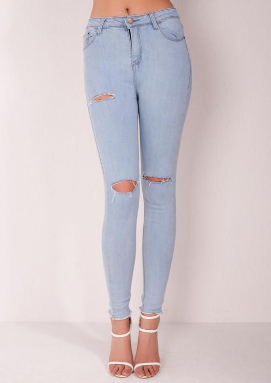 f23b910f87360 High Waisted Super Skinny Knee Ripped Jeans Light Blue