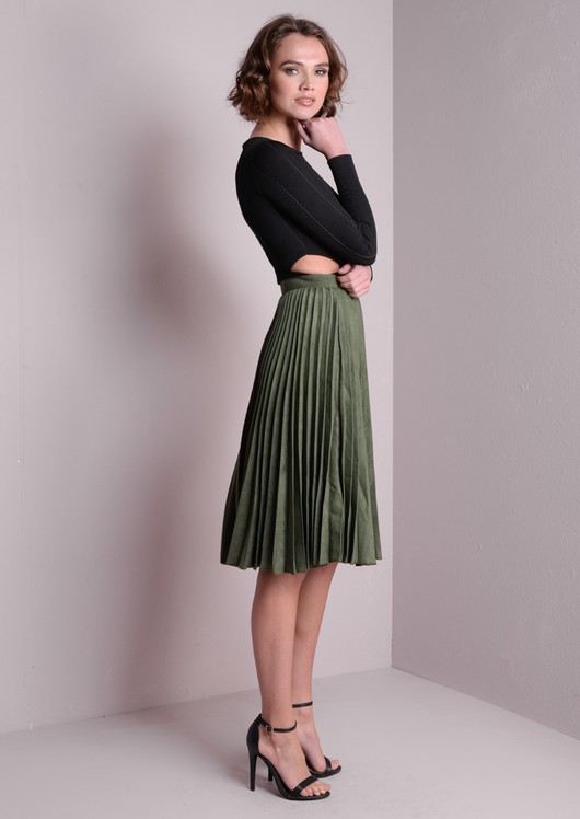Anna Suede Pleated Skirt