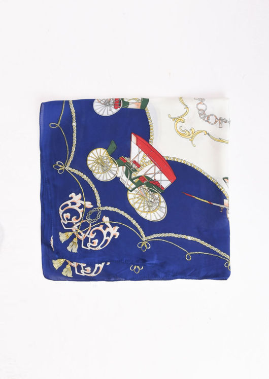 Square Silk Satin Head Scarf Chain Print Blue