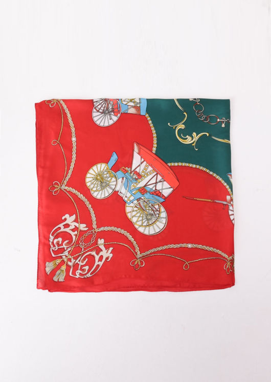 Square Silk Satin Head Scarf Chain Print Red