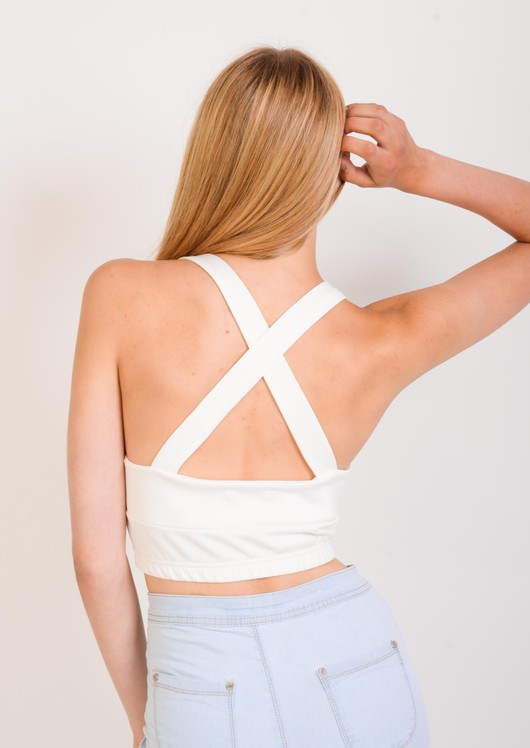 Ashley Cross Back V Neck Crop Top