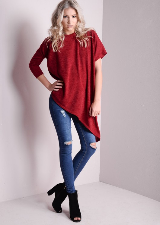 Asymmetric Basic Knitted Tee Red