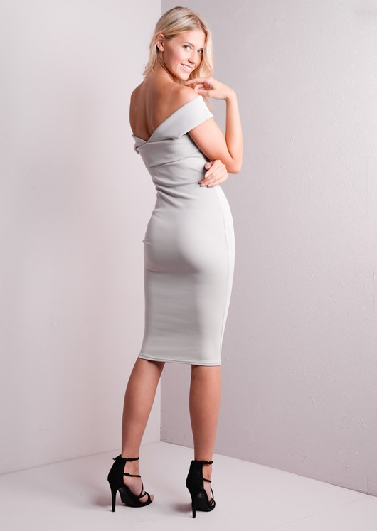 Bardot Cross Over Bodycon Midi Dress Grey