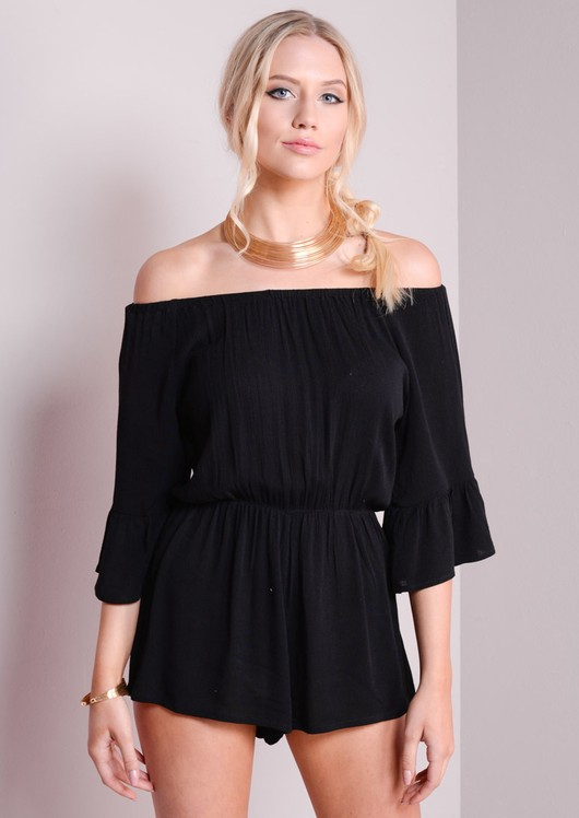 7c63811215f46 Bardot Off The Shoulder Playsuit With Frill Sleeve Black naomi-41.jpg