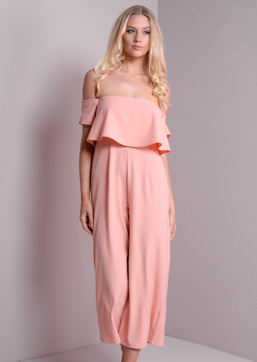 e8097fd67a47 Bardot Off The shoulder Layered Culotte Jumpsuit Nude Pink