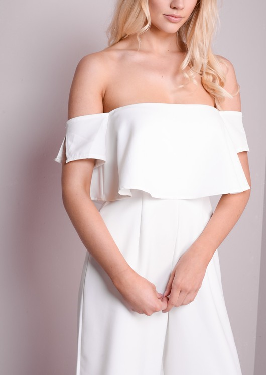 Bardot Off The shoulder Layered Culotte Jumpsuit White