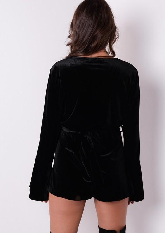 449a2a030c Bell Sleeve Deep V Wrap Velvet Playsuit Black