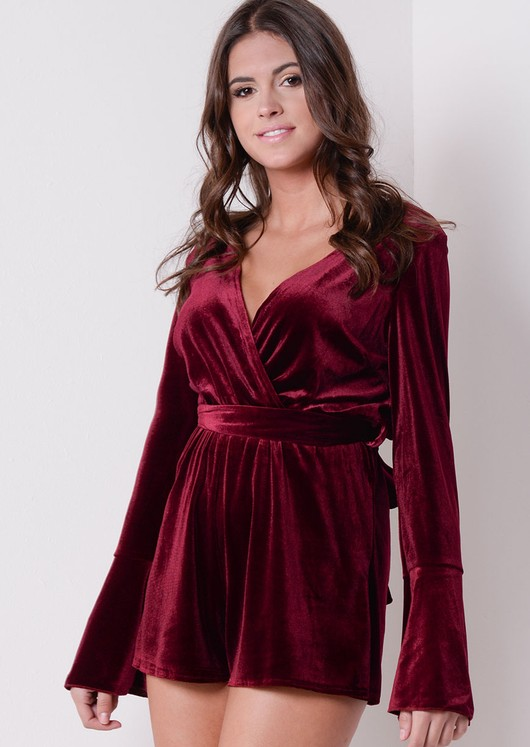 Bell Sleeve Deep V Wrap Velvet Playsuit Burgundy