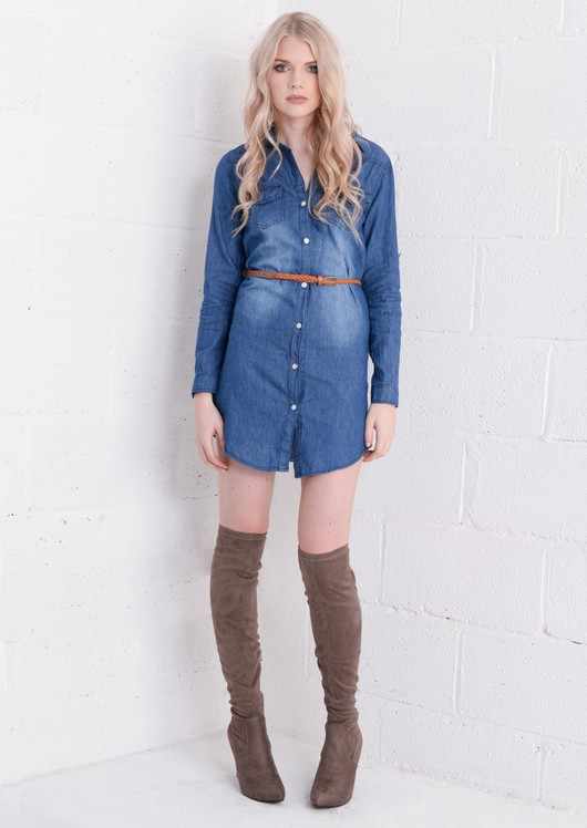 Belted Button Up Denim Shirt Dress