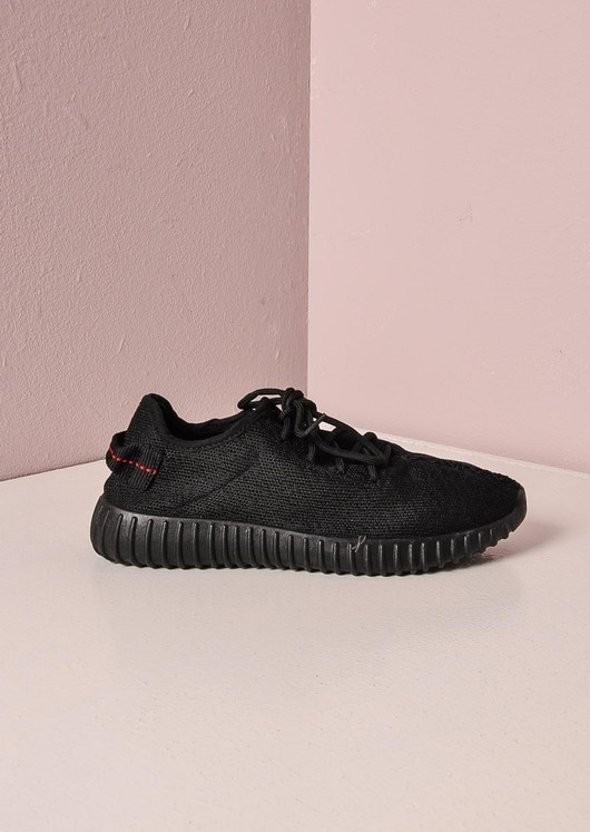 Black Textured Trainers Ribbed Sole