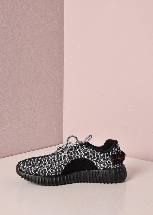 Black and Grey Textured Trainers Ribbed Sole