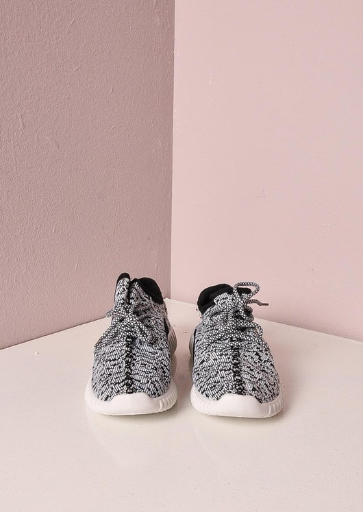 Blank and White Textured Trainers Ribbed Sole