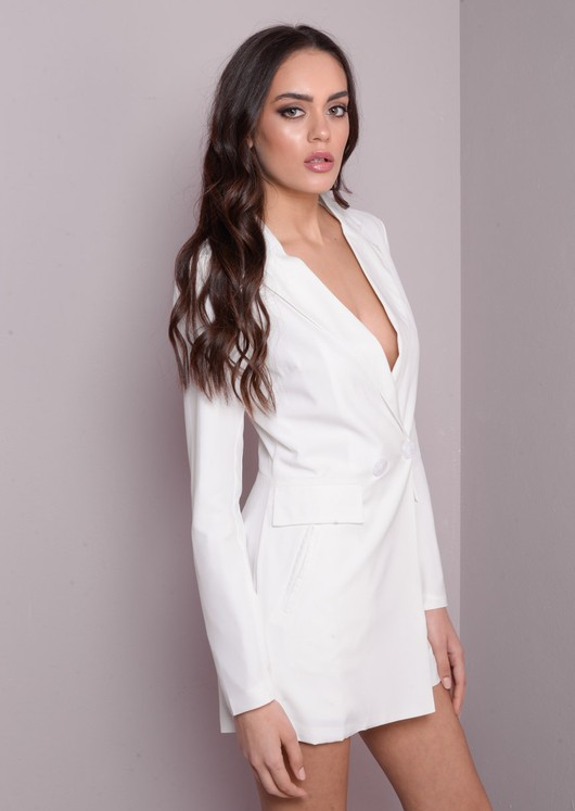 Blazer Playsuit Tuxedo Long Sleeve Style White