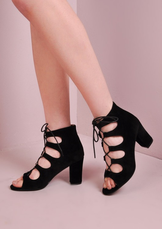 Block Heel Lace Up Sudede Sandals Black