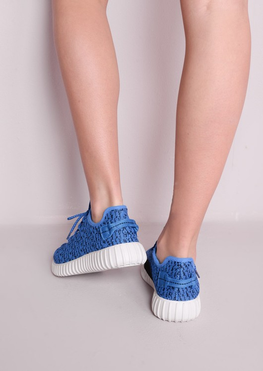 Blue Textured Trainers Ribbed Sole