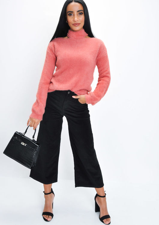 Fluffy Cut Out Neck Knit Jumper Coral Pink
