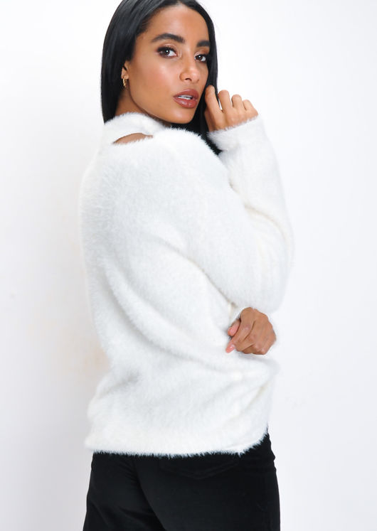 Fluffy Cut Out Neck Off shoulder Knit Jumper Cream White
