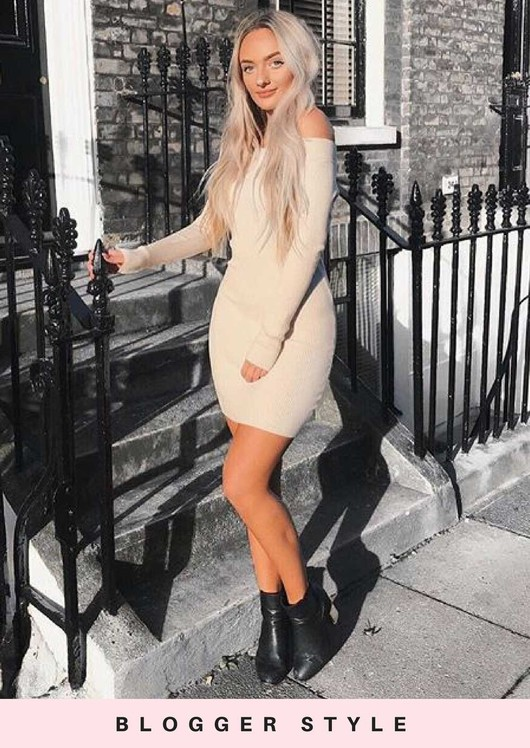 Off The Shoulder Ribbed Knitted Bodycon Dress Beige