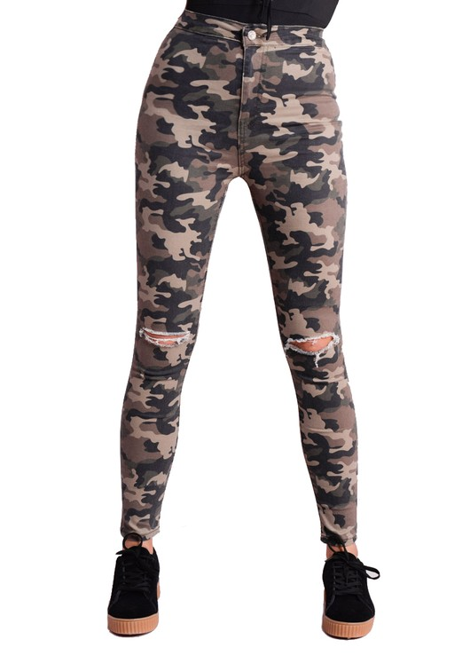 Camouflage Print High Waisted Knee Ripped Skinny Jeans Khaki