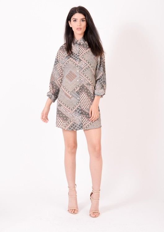 Cassie Oversized Patterned Shirt Dress