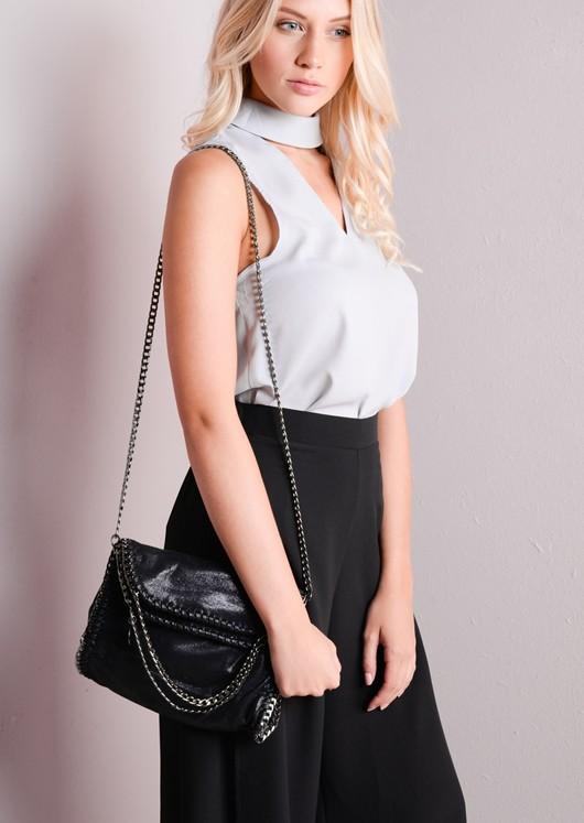 Chain EdgeRoll Top Clutch Bag Shimmery Black