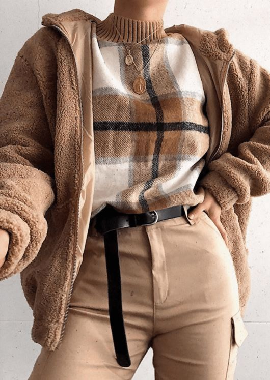 Check Knit Jumper Camel Brown