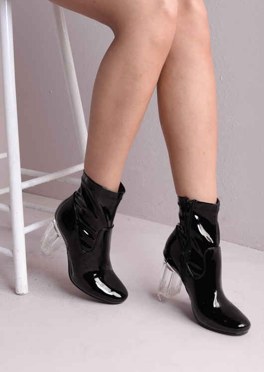 a3197ffd8a Clear Perspex Faux Patent Leather Ankle Black Boots