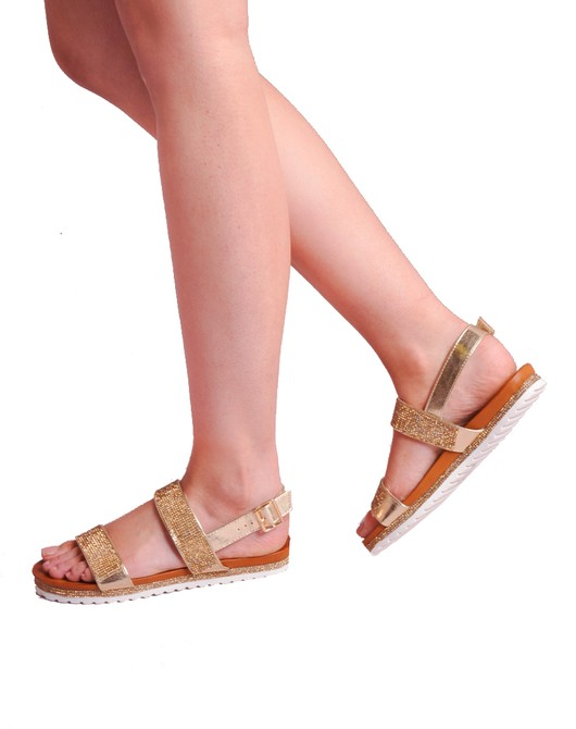 Cleated Diamante Strapped Sandals Gold