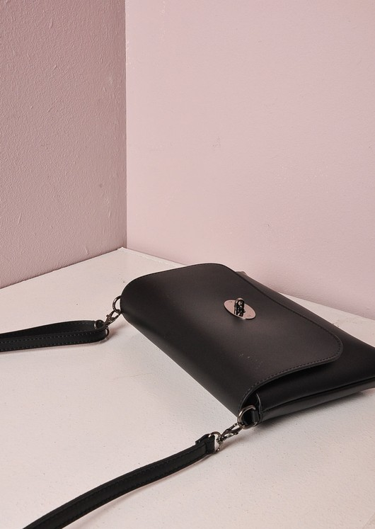 Leather Clutch Shoulder Bag Black