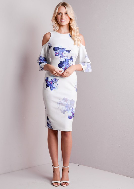 bfdcecab Cold Shoulder Bodycon Midi Dress White Floral