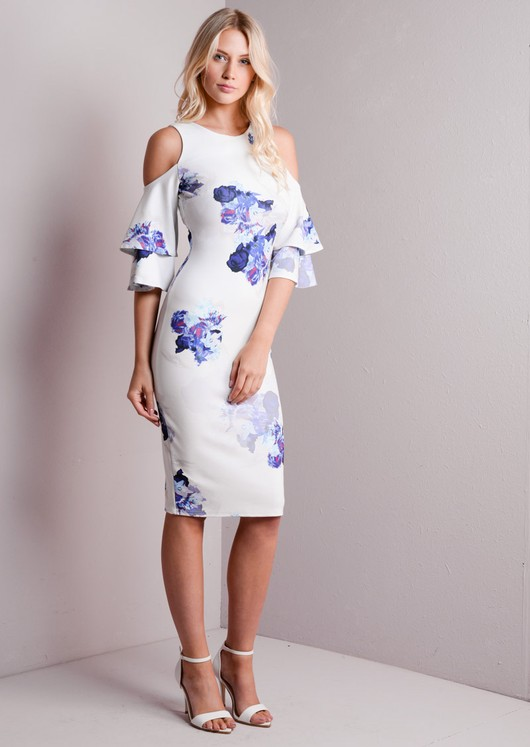 Cold Shoulder Bodycon Midi Dress White Floral