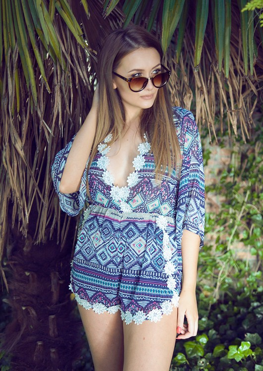 Corina Crochet Trim Playsuit Aztec
