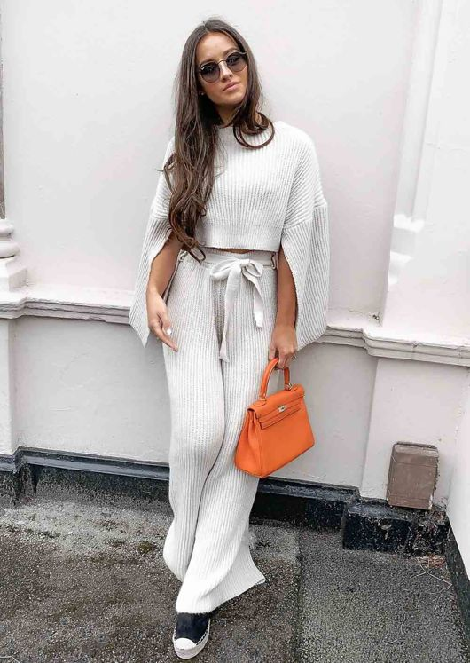 Cropped Batwing Slit Sleeve Ribbed Knit Lounge Co Ord Set Beige