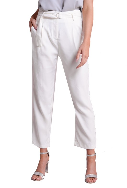 D-Ring Belted Tailored Trousers White