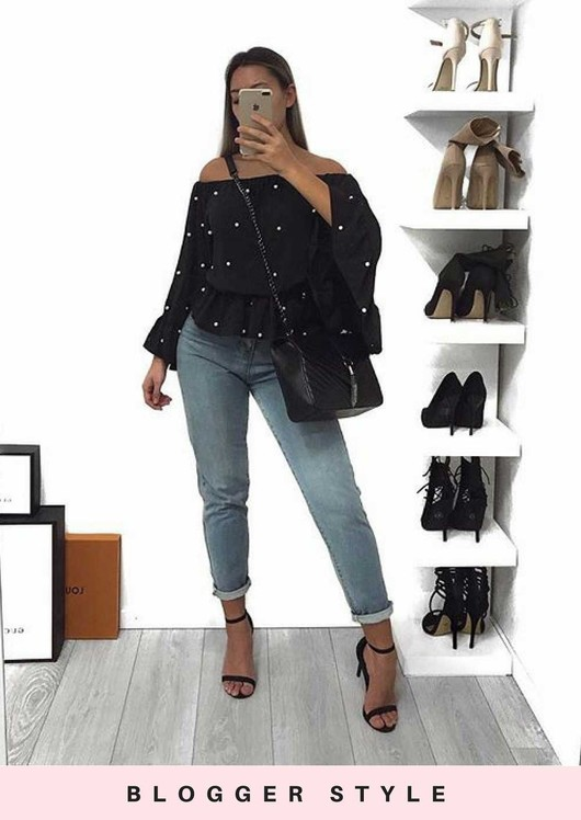 Pearl Embellished Off The Shoulder Bell Sleeve Peplum Shirt Top Black