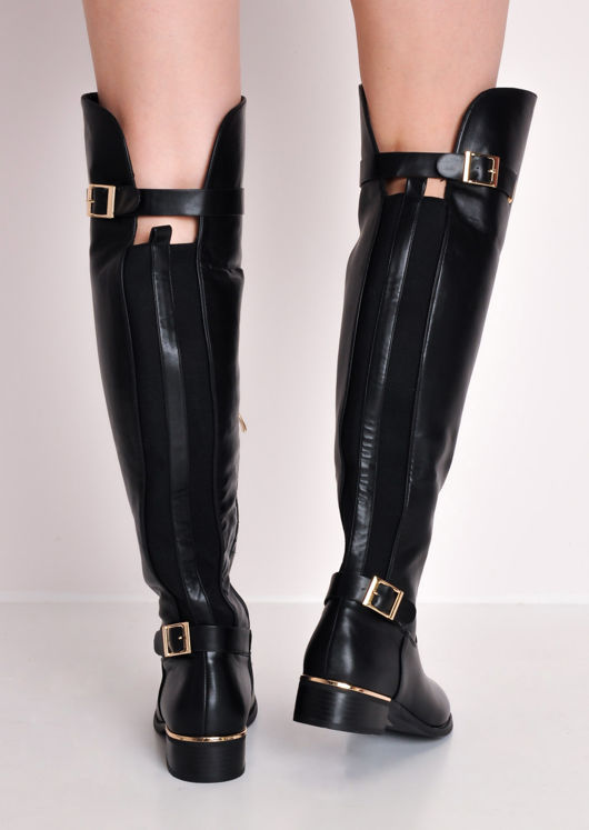 Faux Leather Knee High Long Riding Style Boots Black