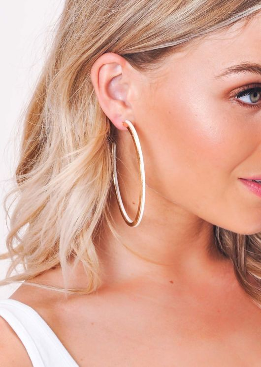 Gold Panel Hoop Earrings White