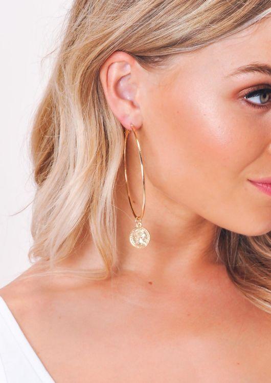 Coin Hoop Earrings Gold