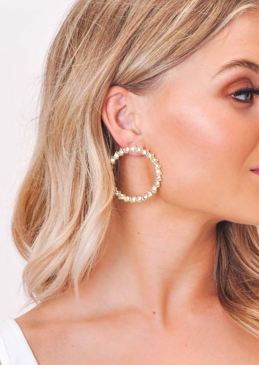 Diamante Circle Earrings Gold