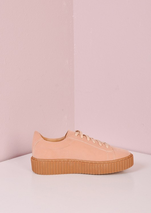 Lace Up Flatform Creepers Beige