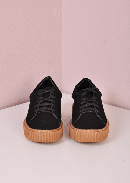 Lace Up Flatform Creepers Black/ Beige
