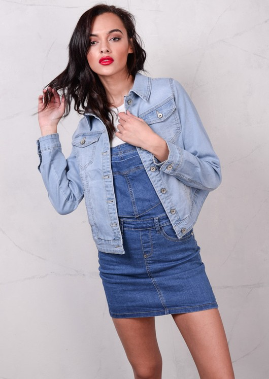 90s Crop Fitted Denim Jacket Light Blue
