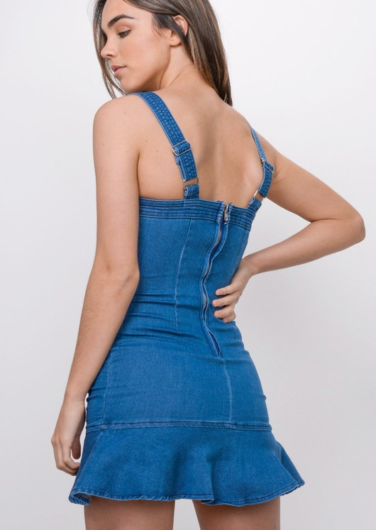 Denim Frill Hem Bodycon Dress Blue