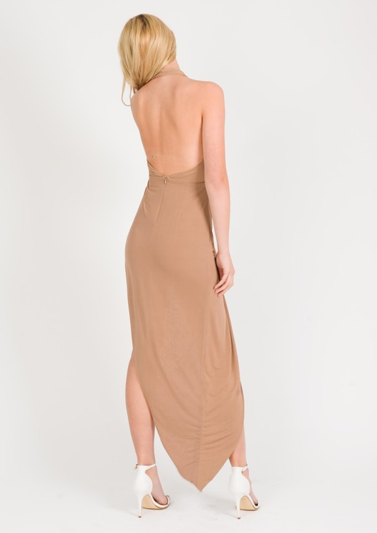 Sammi Asymmetric Halterneck Dress Camel