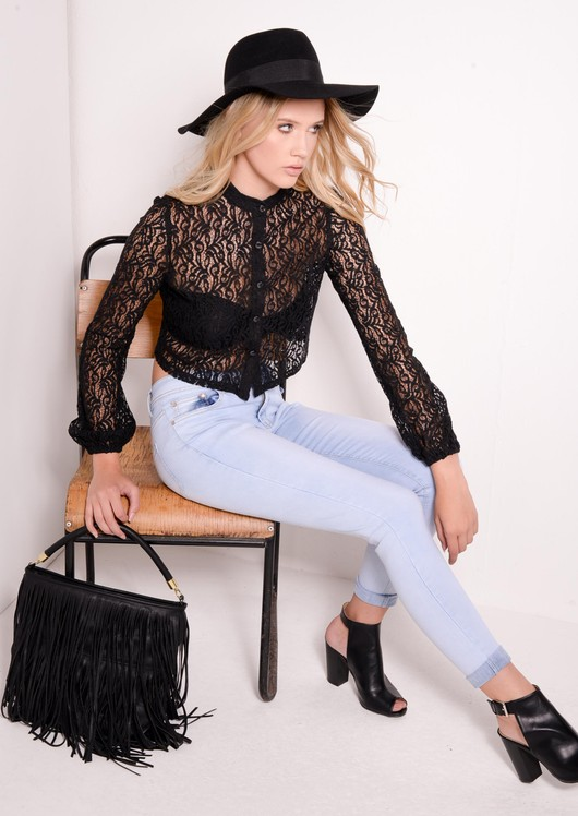 Dawn Black Lace Cropped Shirt