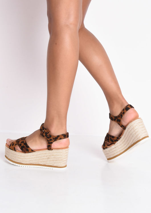Leopard Print Espadrilles Wedge Sandals Multi