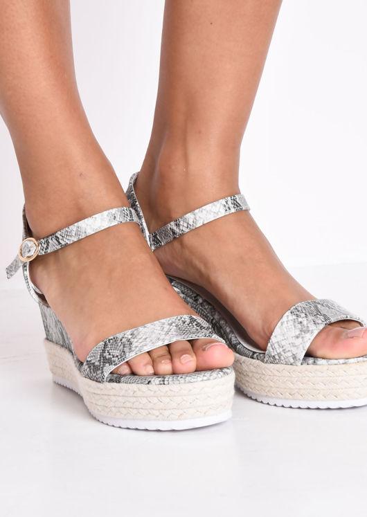 Snake Print Platform Braided Cork Wedge Espadrille Sandals Multi