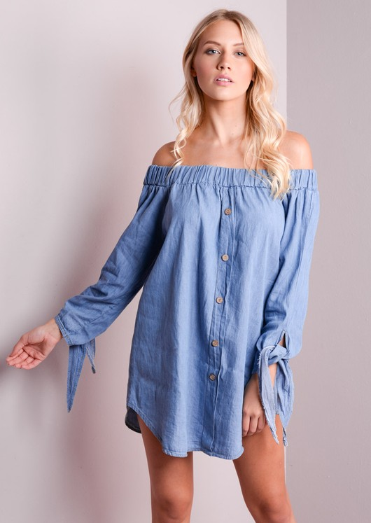 8f6028e16f Dalary-Light-Blue denim off shoulder dress