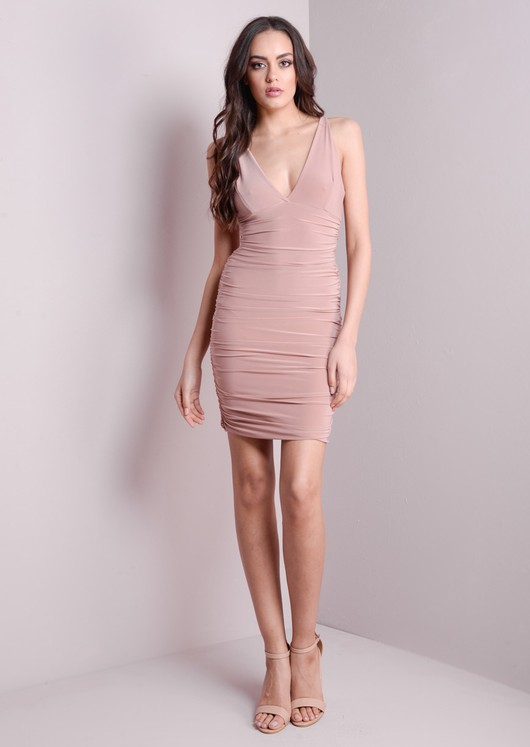 Deep V-Neck Flattering Bodycon Dress Nude